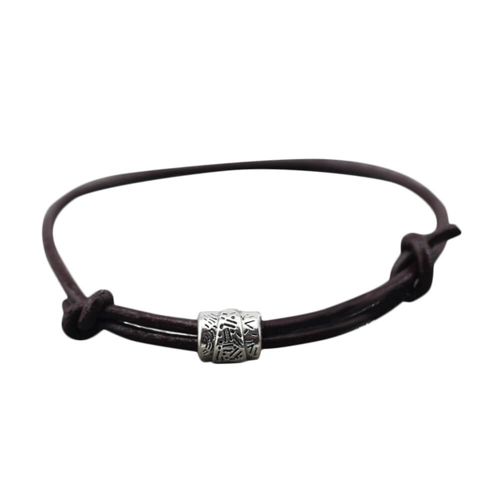 Leather Strand Sliding Wrap Bracelet with One Silver-tone Charm, Simple, Adjustable
