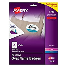 Avery White Adhesive Oval Name Badges, 2\