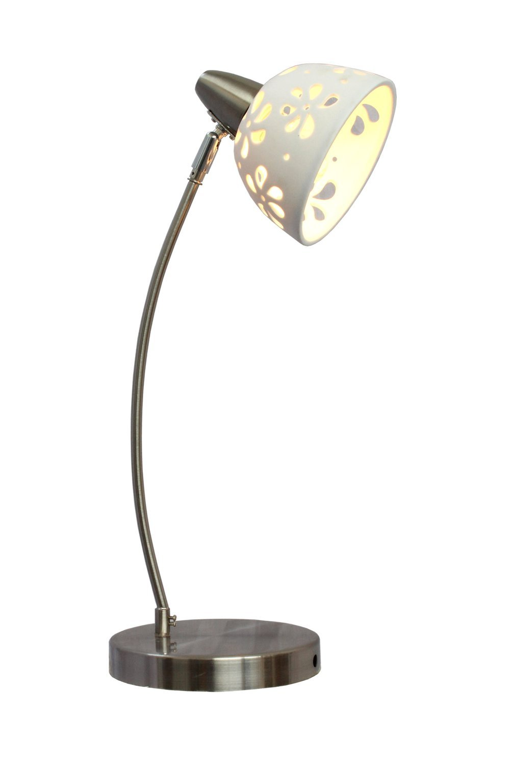 Simple Designs Ld1000 Wht White Porcelain Flower Desk Lamp Brushed