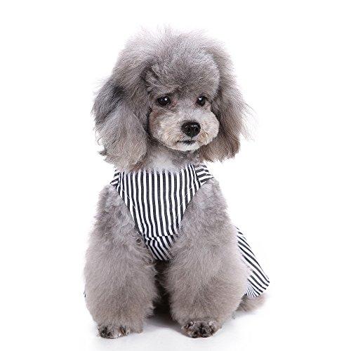 S-Lifeeling Elegant Striped Pet Dress Dog Clothes Vest Shirts Apparel, Black ()
