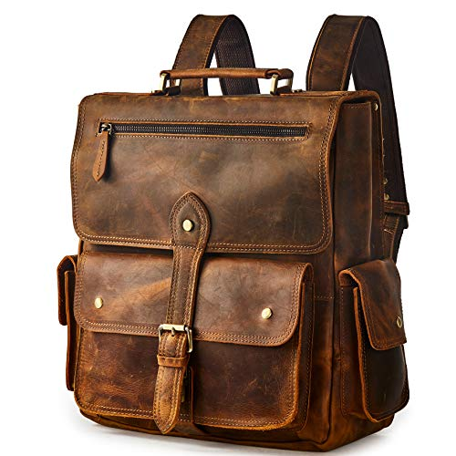 BRASS TACKS Leathercraft Men's Convertible Crazy Horse Genuine Leather Backpack 14