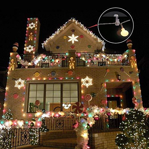 Meetory Christmas Mini Gutter Hang Hooks Weatherproof Plastic S Clip Hooks for Xmas Decoration Outside String Lights (50pcs)