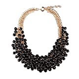 Girl Era Gold-Tone Multilayer Clear Bead Resin Chain Choker Chunky Statement Bib Necklace