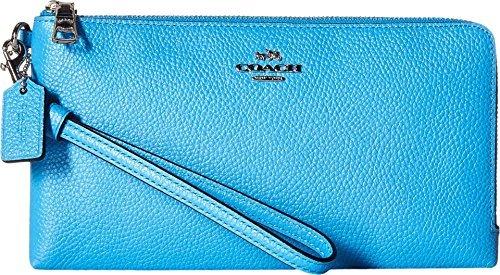 COACH Women's Double Zip Wallet SV/Azure Checkbook Wallet by Coach