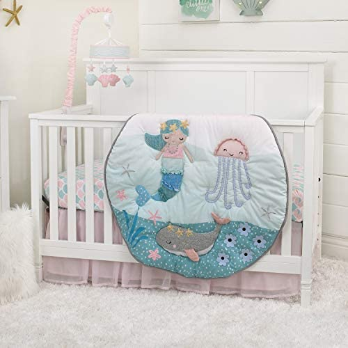NoJo Sugar Reef Mermaid Applique Luxury Crib or Play Quilt//Comforter Only