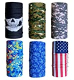 Cool Pack of 6 Pcs Seamless Style Camo Bandanna Headwear Scarf Wrap Neck Gaiters. Perfect for Running & Hiking, Biking & Riding, Skiing & Snowboarding, Hunting, Working Out & Yoga for Women and Men