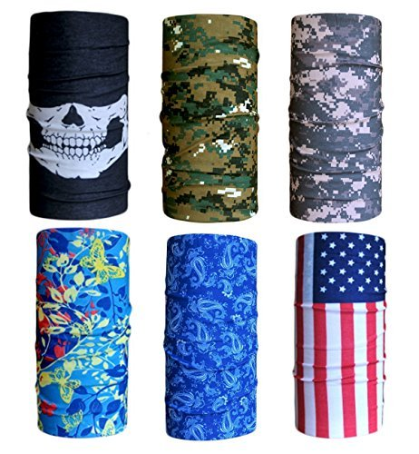 Multi Head Scarf (Cool Pack of 6 Pcs Seamless Style Camo Bandanna Headwear Scarf Wrap Neck Gaiters Multi Colors 47x25cm/18.5 x 9.8 inch (L x W))