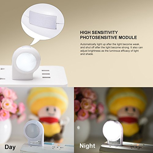 LEDGLE LED Motion Sensor Night Lights Dusk-to-Dawn Sensor, Bedroom, Bathroom, Kitchen, Hallway, Stairs, Energy Efficient, Compact,4-Pack