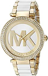 Michael Kors Watches Parker Gold-Tone and White 3 Hand Watch