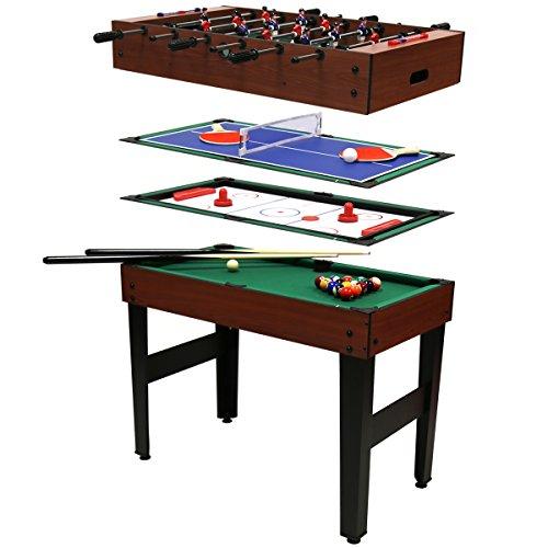 Multi-Spieltisch 4 in 1 - Poolbillard, Tischfußball, Tischhockey & Tischtennis