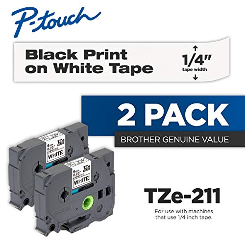 Brother Genuine P-Touch 2-Pack TZe-211 Laminated Tape, Black Print on White Standard Adhesive Laminated Tape for P-Touch Label Makers, Each Roll is 0.23