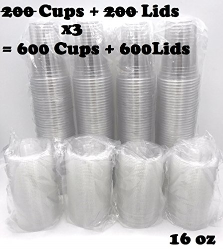HARVEST PACK - 600 Sets of Premium Crystal Clear Plastic PET 16 (Sixteen) oz (ounces) Disposable Cups Combo with Flat Lids for Cold Drinks Iced Coffee Tea Juices Smoothies Slushes Sodas Beer (600)