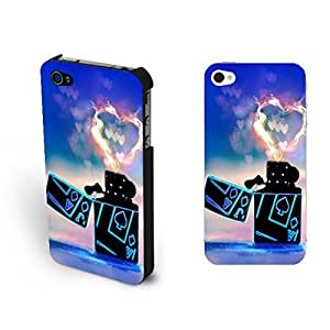 Fancy Love Heart Fire Lighter Iphone 4 Case Cover Bright Colors Poker Design Iphone 4s Case Skin for Girls