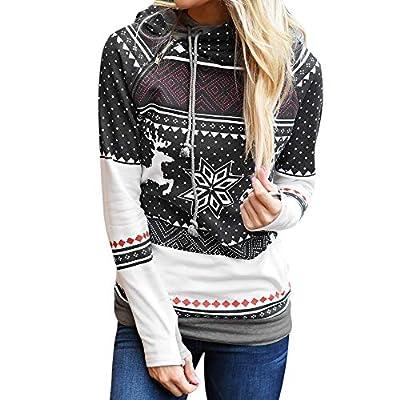 Blouses For Women,Clearance Sale!!Farjing Christmas Women Zipper Dots Print Tops Hooded Sweatshirt Pullover Blouse T-Shirt