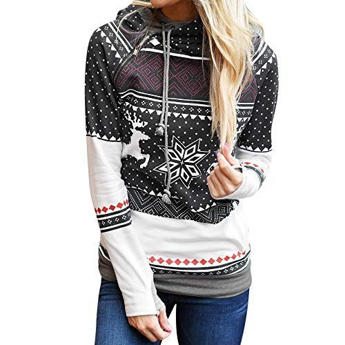 Simayixx Sweatshirts for Women Women Reindeer Ugly Christmas Sweater Xmas Snowflakes Pullover Jumper Tops(S-2XL) (Breech Cover Line)