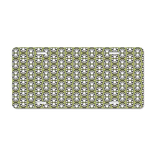 Blingreddiamond Kids,Geometrical Up and Down Panda Pattern Daisy Flowers Cute Funny Bears,Pistachio Green Black White Personalized Novelty License Plates Aluminum 12 x 6 in