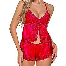 Women Sleepwear,WYTong Satin Pajamas Set Lace Split Cami Top +Shorts Silky Nightwear Lingerie Set(Red,2XL)