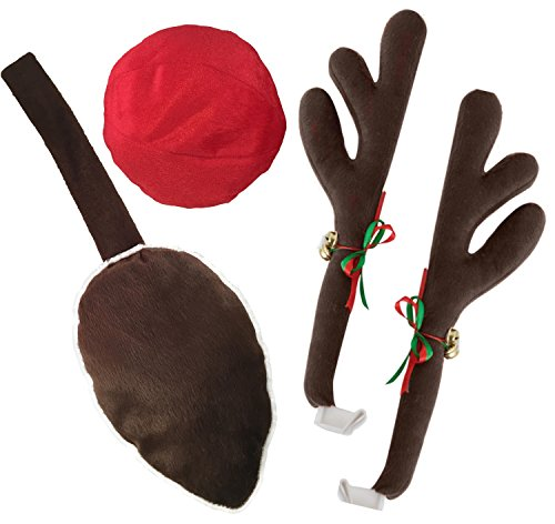KOVOT Reindeer Car Set: Includes Car Jingle Bell Antlers Antlers, Nose, and Tail For The Trunk]()