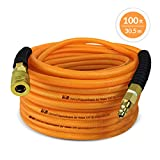 DuraDrive 1/4 inch x 100 feet Orange Hybrid Polyurethane Air Hose with Swivel Fitting, Maximum Working Pressure of 300-PSI