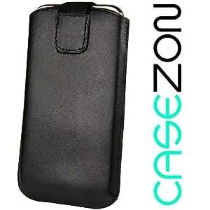 Nokia C1–00C100Dual SIM DualSIM Duos Original casezon M Funda de piel Funda Funda Slim Case Black Negro con función auzieh (Pull Strip)