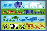 Wildkin Play Rug, Children's 39 x 58 Inch Rug, Durable, Vibrant Colors That Will Last, Perfect for Nurseries, Playrooms, and Classrooms, Ages 3+, Olive Kids Design - Endangered Animals