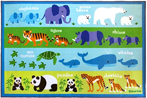Wildkin Play Rug, Children's 39 x 58 Inch Rug, Durable, Vibrant Colors That Will Last, Perfect for Nurseries, Playrooms, and Classrooms, Ages 3+, Olive Kids Design - Endangered Animals by Wildkin