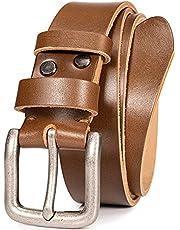 WOLFANT Cinturón de cuero de grano completo casual para hombre, 1/6 pulgadas de grosor italiano auténtico sólido cinturón de trabajo resistente
