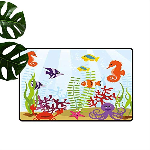 (Anzhutwelve Aquarium,Floor Rug mats Friendly Sea Animals Tropical Aquatic Habitat Collection Seahorse Crab Octopus Plain Doormat W 20