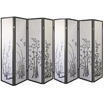 legacy decor black 8panel bamboo floral room divider screen