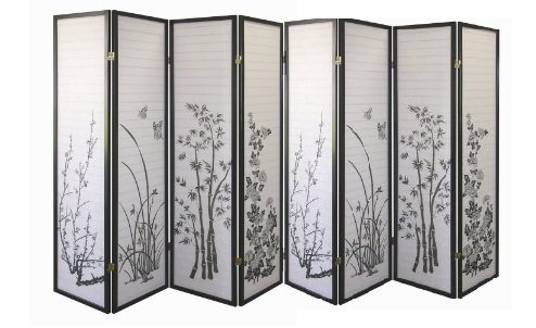 - Legacy Decor Black 8-panel Bamboo Floral Room Divider Screen