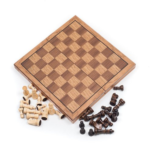 (TMG Wooden Book Style Staunton Chess Set - Folds with Storage!)
