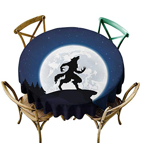 Polyester Round Tablecloth 36 inch Wolf,Full Moon Night Sky Growling Werewolf Mythical Creature in Woods Halloween,Dark Blue Black White 100% Polyester Spillproof Tablecloths for Round -