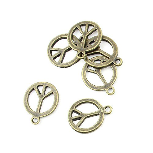 10 pieces Anti-Brass Fashion Jewelry Making Charms 1783 Peace Symbol Wholesale Supplies Pendant Craft DIY Vintage Alloys Necklace Bulk Supply Findings Loose