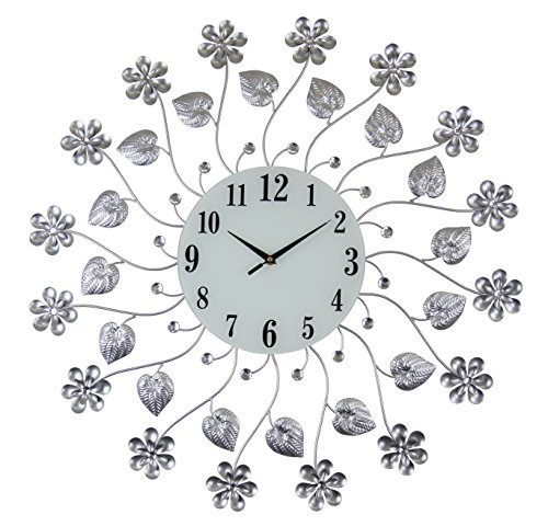 Elegant 27 Inch Bejeweled Silver flower Vine Wall Clock with Crystal (Crystal Silver Clock)