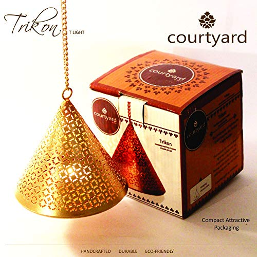 Courtyard Hanging Lantern Candle Holders -Elegant and Modern, Candles, Best Diwali Gift, Tea-Light, Easy to Hang, Handcrafted,Christmas Lights, Lanterns,Home Decor, Gift for Women (Candle Brass Lantern)