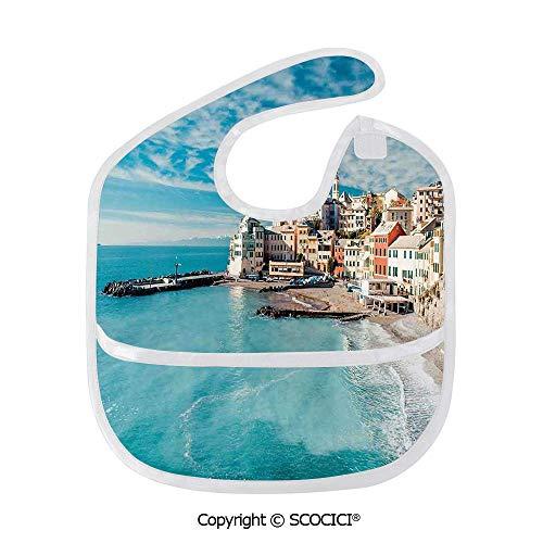 SCOCICI Durable Soft Lightweight and Comfortable Baby Bib Panorama of Old Italian Fish Village Beach Old Province Coastal Charm Image Child - Helmet Italian Charm
