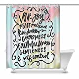 InterestPrint Fruit of the Spirit Bible Verse, Christian Print Polyester Fabric Shower Curtain, 60 x 72 Inches Long