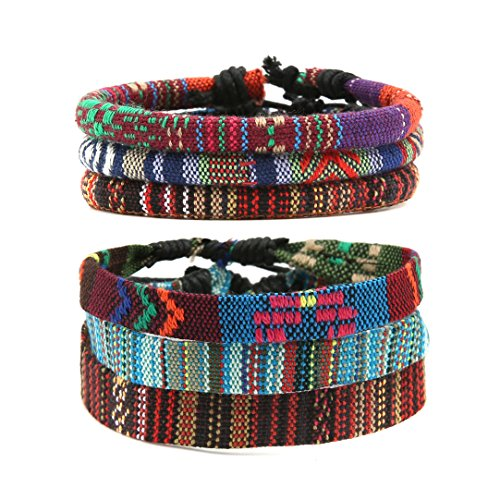 HZMAN Mix 6 Wrap Bracelets Men Women, Hemp Cords Ethnic Tribal Bracelets Wristbands (Mix 6 Wrap) by HZMAN (Image #1)