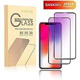 BNBKIKO iPhone X Screen Protector [2-Pack], [Anti-Blue Light] [Anti-Fingerprint] [9H/HD] 3D Full Coverage Tempered Glass Screen Cover Shield for Apple iPhone X/iPhone 10, 5.8 Inch-Black