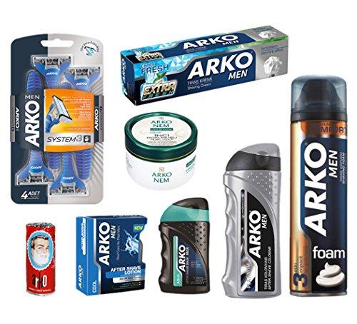 - Arko Shaving Set (Maximum Comfort Shaving-Foam, Extra Fresh Shaving Cream, Aqua Balm, Silver Cologne, Cool Lotion, Pearl Cream, Shave Soap, Razor)