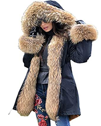Aox Women Fashion Winter Coat with Faux Fur Hood Thicken