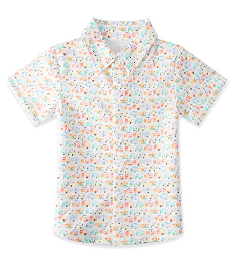 uideazone Boys Cars White Party Beachwear Casual Button Down Shirts Toddlers Short Sleeve Blouses Slim Fit Party Wear Clothing with Bright Colors(Size 7-8T)