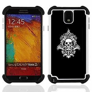 """SAMSUNG Galaxy Note 3 III / N9000 / N9005 - 3 en 1 impreso colorido de Altas Prestaciones PC Funda chaqueta Negro cubierta gel silicona suave (Modelo del cráneo tribal"""")"""
