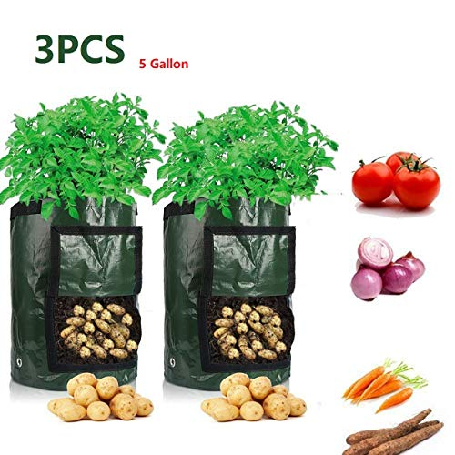 3 Pack Potato Grow Bags, 5 Gallon PE Plant Growing Bags with Handles, Large Vegetables Planters Pots Container for…