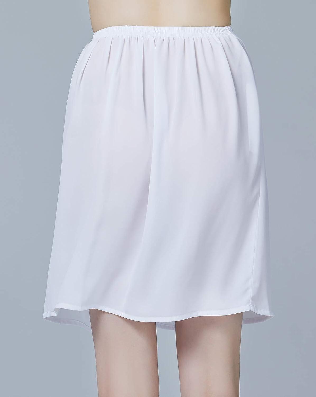 BEAUTELICATE Sottogonna in Chiffon Mezzo Slip Anti Statico Regolabile in Vita in 4 Diverse Lunghezza Nero Avorio Bianco Nudo Blu Navy