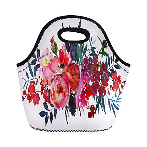 Semtomn Neoprene Lunch Tote Bag Orange Watercolor Flowers Red Navy Blue Magenta Pink Bouquet Reusable Cooler Bags Insulated Thermal Picnic Handbag for Travel,School,Outdoors,Work