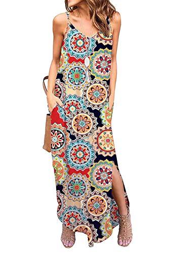 - Donnalla Womens Summer Casual Loose V-Neck Dress Spaghetti Strap Sleeveless Split Maxi Dresses(Geometric Small)