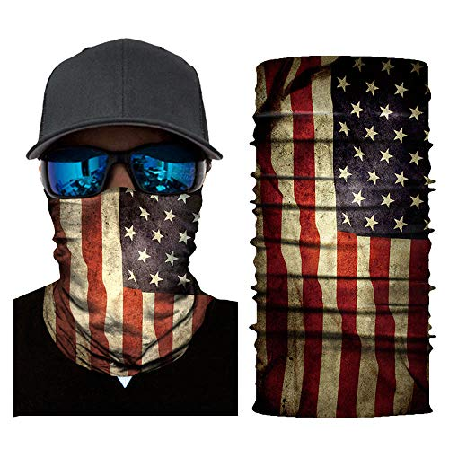 Transer- Face Shield, Flag Stretchable Motorcycle Bicycle Bike Cycling Face Mask Balaclava Protect from Wind, Dirt, Bugs and Sun UV Protection for Hiking, Camping, Climbing, Hunting, Motorcycling (A)