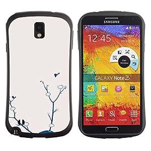 """Hypernova Slim Fit Dual Barniz Protector Caso Case Funda Para Samsung Note 3 [Arte azul Niña Rama abstracta""""]"""