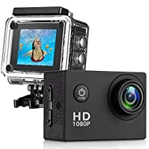 Action Camera, Full HD Camcorder 1080P Waterproof Cam 98ft Underwater 170° Wide-Angle Sports Camera with Outdoor Mounting Accessory Kits